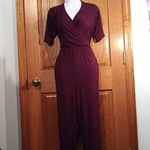 Plum Jumpsuit with Ruching